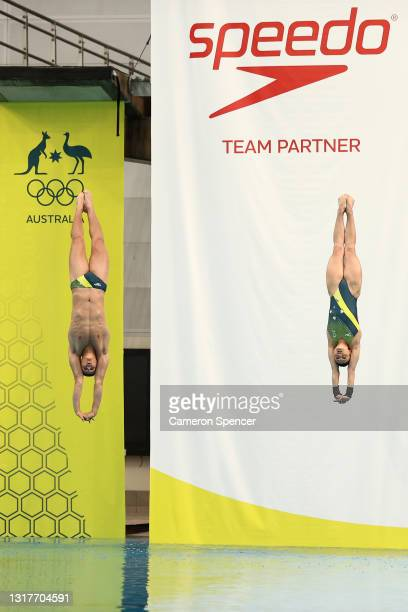 Australian divers Sam Fricker and Melissa Wu dive during the Australian 2020 Tokyo Olympic Games Swimming Uniform Launch at Sydney Olympic Park...