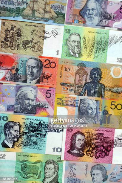 Australian dollar paper and polymer notes form a colourful mosaic as the Reserve Bank of Australia leaves the official cash rate unchanged at 325...