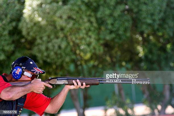 Australian double Olympic gold medalist Michael Diamond perpares to fire during the trap event of the ISSF World Shooting Championships in Nicosia...