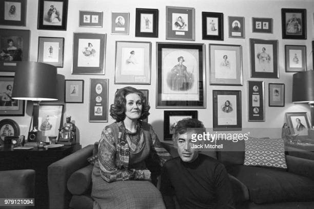 Australian dramatic coloratura soprano Joan Sutherland and her husband Australian pianist and conductor Richard Bonynge photographed in February 1976