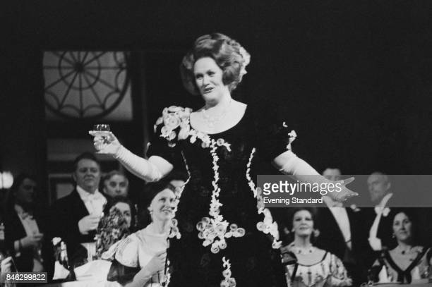 Australian dramatic coloratura soprano Joan Sutherland makes a toast in front of her audience 6th January 1975