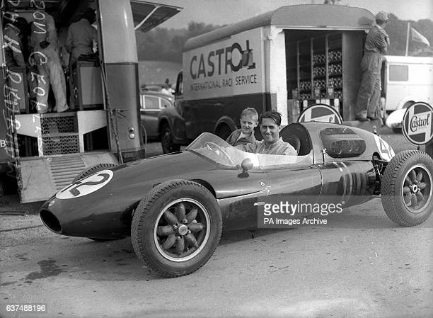 Australian driver Jack Brabham with his son Geoffrey in the Tojeiro Jaguar at Brands Hatch