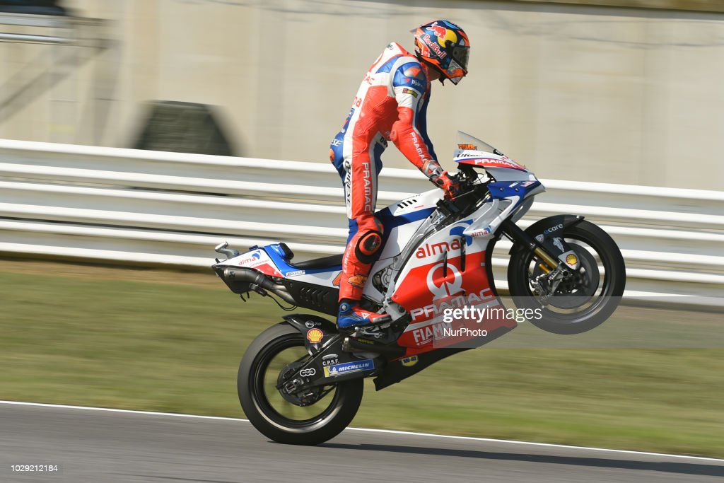 43 Australian driver Jack Miller of Team Octo Pramac Racing driving during qualifying in Misano World Circuit Marco Simoncelli in Misano Adriatico for San Marino and Riviera di Rimini GP on 8 September 2018.