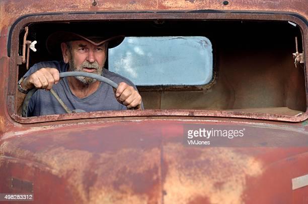 Australian Driving a Vintage Truck