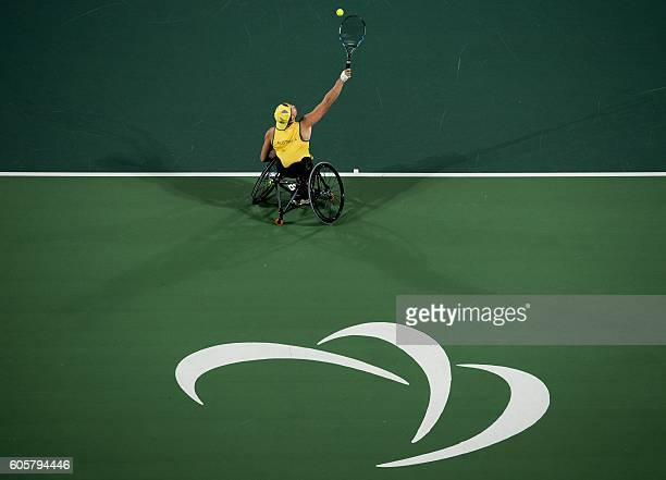 TOPSHOT Australian Dylan Alcott play against Britain's Andy Lapthorne in the Quad Singles Gold Medal Match Wheelchair Tennis at the Olympic Tennis...