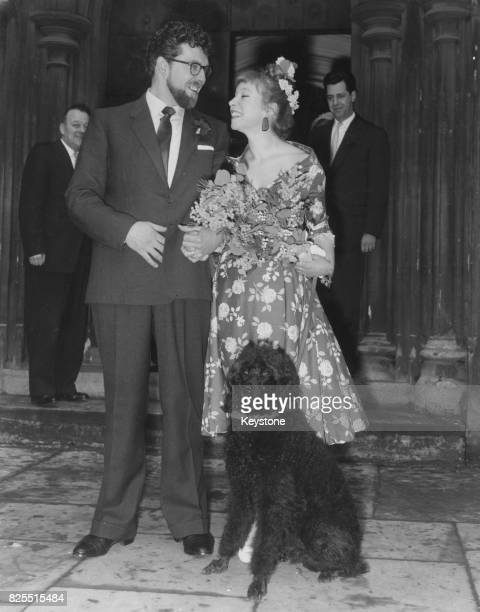 Australian entertainer Rolf Harris marries sculptor Alwen Hughes at St Saviour's Church Warwick Avenue London 1st March 1958 The bride's poodle Puggy...
