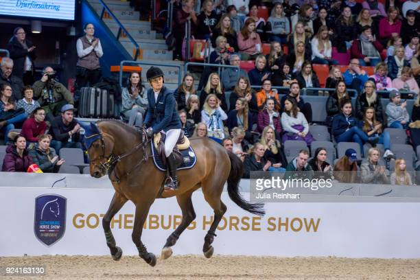 Australian equestrian Edwina TopsAlexander on Inca Boy van't Vianahof places ninth in the FEI Longines World Cup jumping during the Gothenburg Horse...