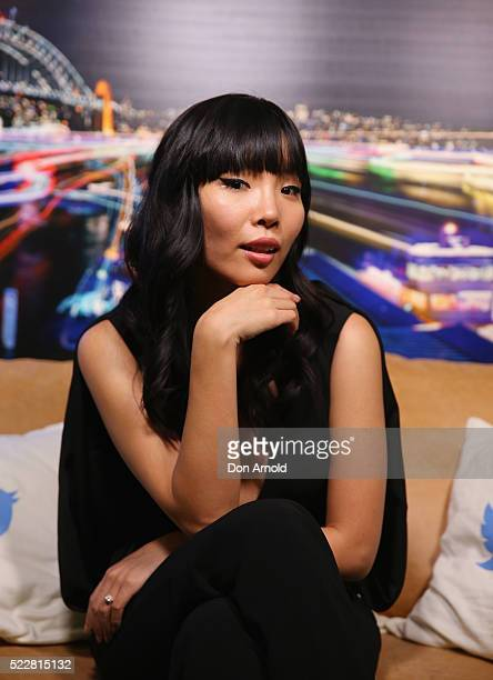 Australian Eurovision entrant Dami Im poses inside TwitterAU on April 21 2016 in Sydney Australia