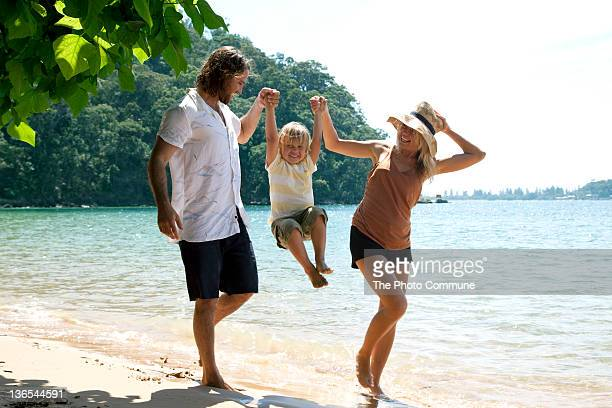Australian family at the beach