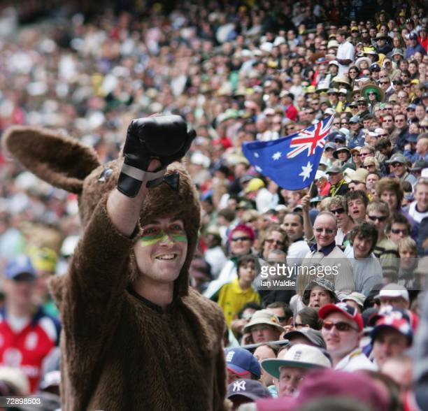 Australian fan Adam Kuss appears in the crowd dressed as a kangaroo during the fourth Ashes test at the Melbourne Cricket Ground on December 28 2006...