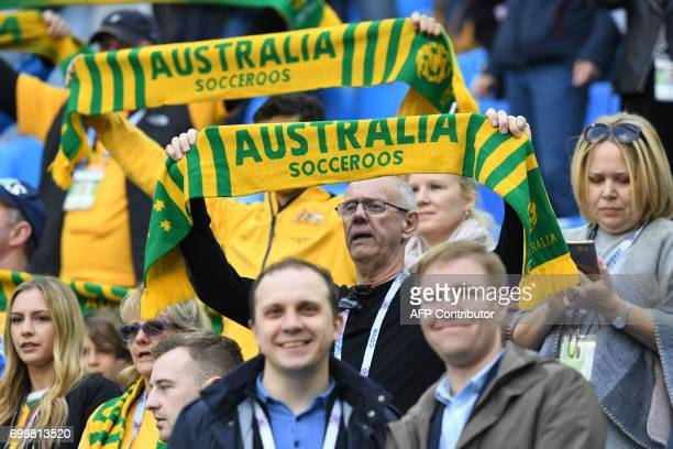Australian fans celebrate a penalty goal during the 2017 Confederations Cup group B football match between Cameroon and Australia at the Saint...