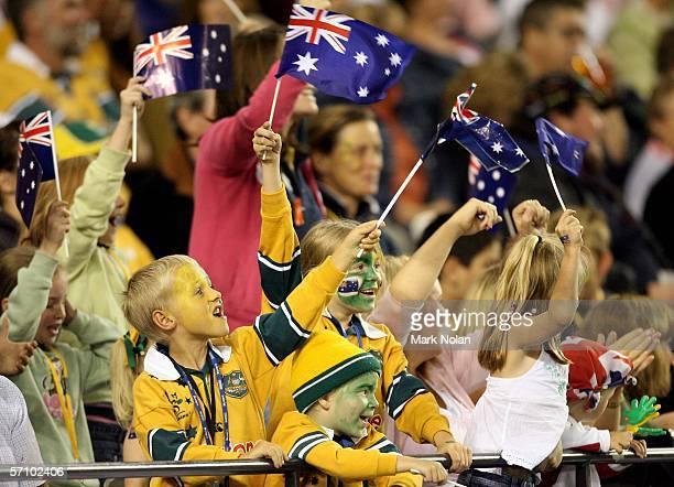 Australian fans cheer at the Rugby Sevens at the Telstra Dome on day one of the Melbourne 2006 Commonwealth Games March 16, 2006 in Melbourne,...