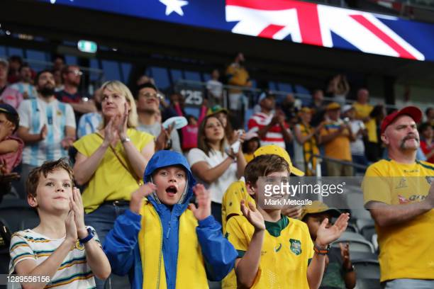 Australian fans cheer during the 2020 Tri-Nations match between the Australian Wallabies and the Argentina Pumas at Bankwest Stadium on December 05,...