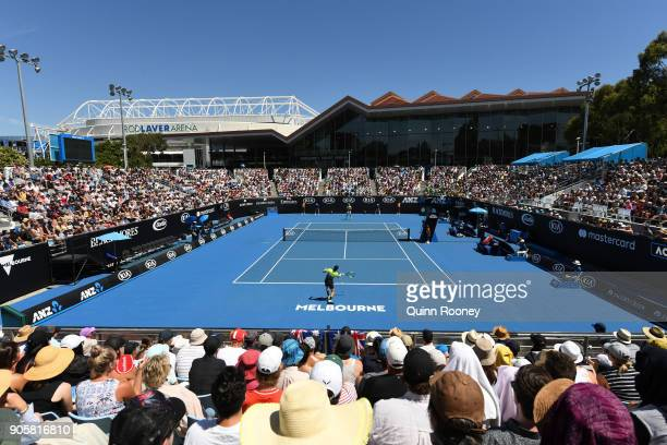 Australian fans cheer on John Millman of Australia in his second round match against Damir Dzumhur of Bosnia and Herzogovina on day three of the 2018...