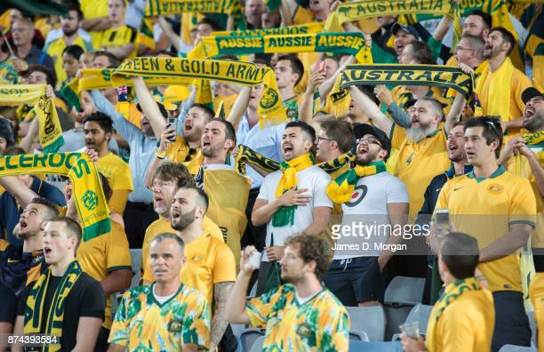 Australian fans cheer on their idols during the 2018 FIFA World Cup Qualifiers Leg 2 match between the Australian Socceroos and Honduras at ANZ...
