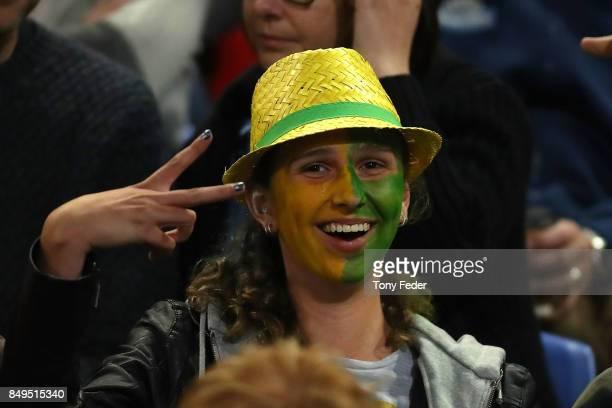 Australian fans during the Women's International match between the Australian Matildas and Brazil at McDonald Jones Stadium on September 19 2017 in...