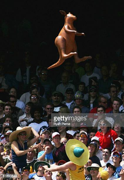 Australian fans play with an inflatable Kangaroo during day one of the Second Test between Australia and Pakistan at the Melbourne Cricket Ground...
