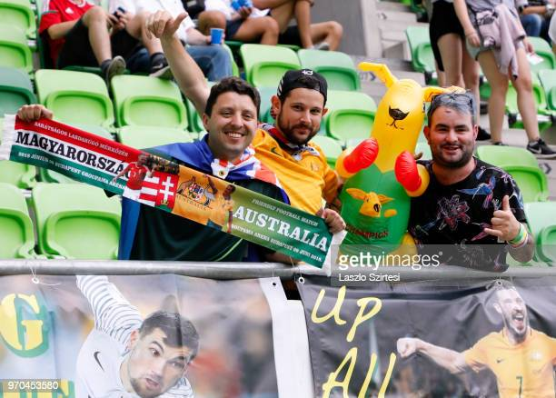 Australian fans pose during the International Friendly match between Hungary and Australia at Groupama Arena on June 9 2018 in Budapest Hungary