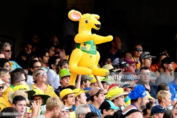 Australian fans show their support as they hold up a toy kangaroo during game two of the One Day International series between Australia and England...