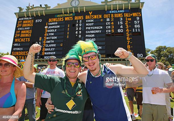 Australian fans show their support during day three of the Second Ashes Test match between Australia and England at Adelaide Oval on December 7 2013...