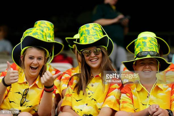 Australian fans show their support during game five of the One Day International match between Australia and England at Perth Stadium on January 28...
