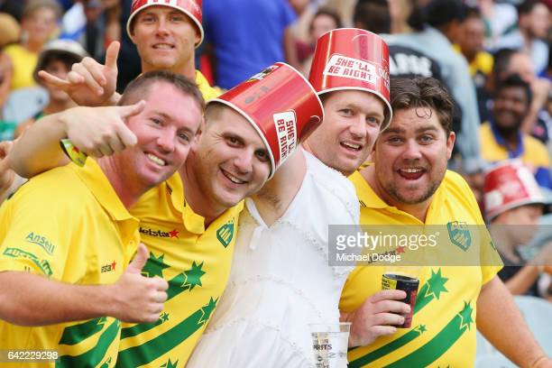 Australian fans show their support during the first International Twenty20 match between Australia and Sri Lanka at Melbourne Cricket Ground on...