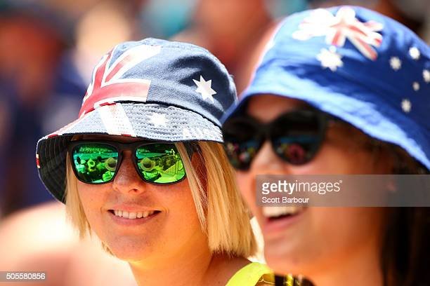 Australian fans show their support in the first round match between Sam Groth of Australia and Adrian Mannarino of France during day two of the 2016...