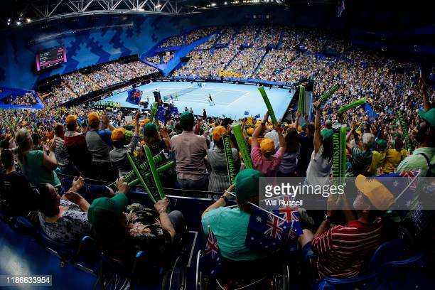 Australian fans show their support to Ash Barty of Australia as she plays Kristina Mladenovic of France in the 2019 Fed Cup Final tie between...