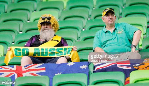 Australian fans wait for the kickoff prior to the International Friendly match between Hungary and Australia at Groupama Arena on June 9 2018 in...