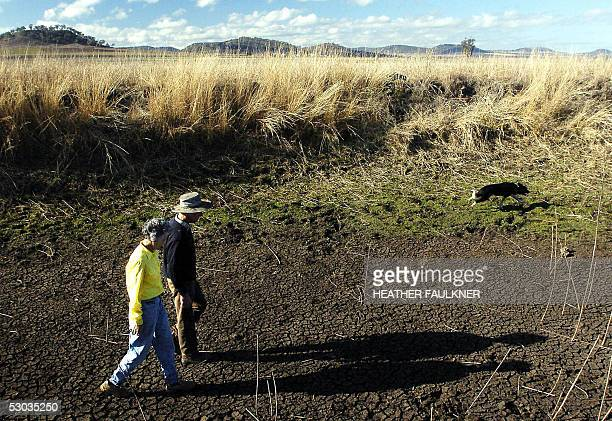 Australian farmers Alan and Robyn Slack-Smith survey a dry creek bed on their drought stricken 100-hectare property near Toowoomba, west of Brisbane,...