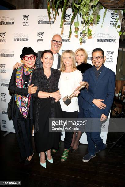 Australian fashion designer Jenny Kee Simon Lock the founder of Australian Fashion Week Nicky Zimmermann Simone Zimmermann designer Carla Zampatti...