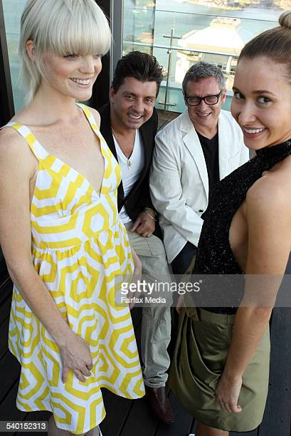 Australian fashion designers Alex ZabottoBentley second from left and Jayson Brunsdon second from right with models Renee Mansbridge left and Amelia...