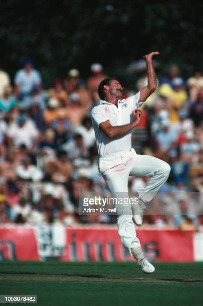 Australian fast bowler Dennis Lillee in action, circa 1980.
