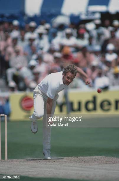 Australian fast bowler Rodney Hogg in action at a World Cup match against India at County Ground Chelmsford Essex 20th June 1983
