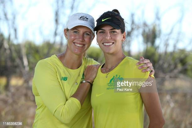 Australian Fed Cup Captain Alicia Molik poses with Ajla Tomljanovic during a practice session ahead of the 2019 Fed Cup Final between Australia and...