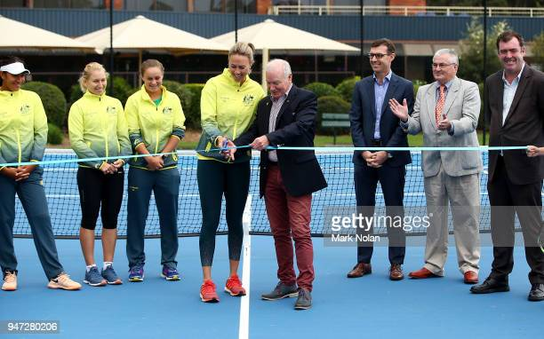 Australian Fed Cup captain Alicica Molik cuts a ribbon with Wollongong Lord Mayor Gordon Brabery during a media opportunity ahead of the Australia v...