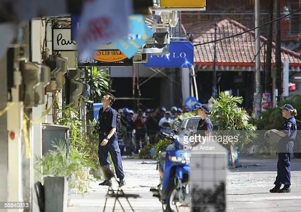 Australian Federal Police investigate the bomb site at Raja's restaurant in Kuta after the Bali suicide terror attacks on October 3 2005 in Bali...