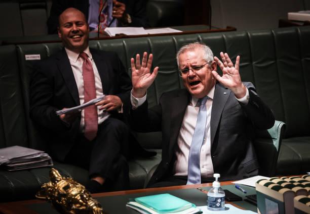 AUS: Prime Minister Scott Morrison Attends Parliament Following Quarantine Period