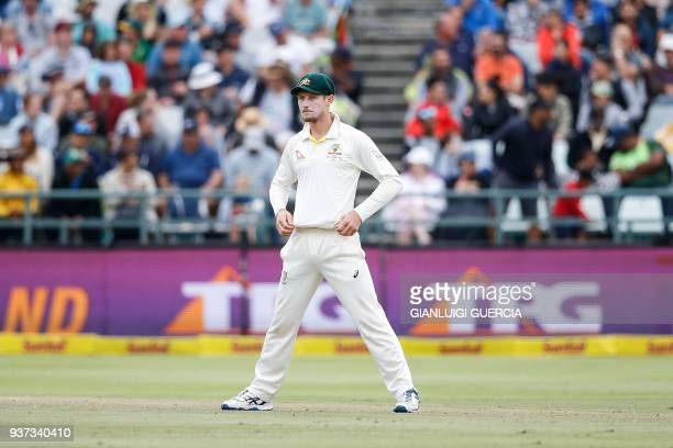 Australian fielder Cameron Bancroft stands by during the third day of the third Test cricket match between South Africa and Australia at Newlands...