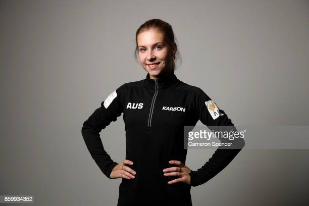 Australian figure skater Ekaterina Alexandrovskaya poses during a portrait session on August 16 2017 in Sydney Australia