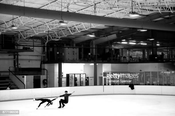 Australian figure skater Harley Windsor and his skating partner Ekaterina Alexandrovskaya practice their routine during a training session at...
