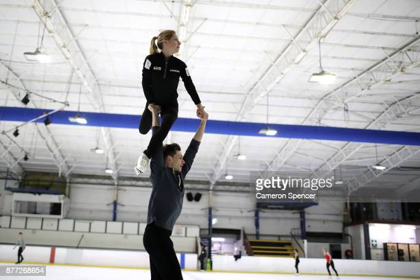 Australian figure skater Harley Windsor and his skating partner Ekaterina Alexandrovskaya practice lifts during their routine during a training...