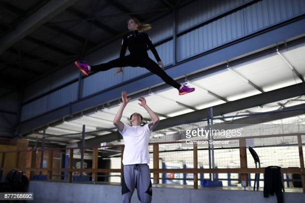 Australian figure skater Harley Windsor and his skating partner Ekaterina Alexandrovskaya warm up and pratice their routine off the ice ahead of a...