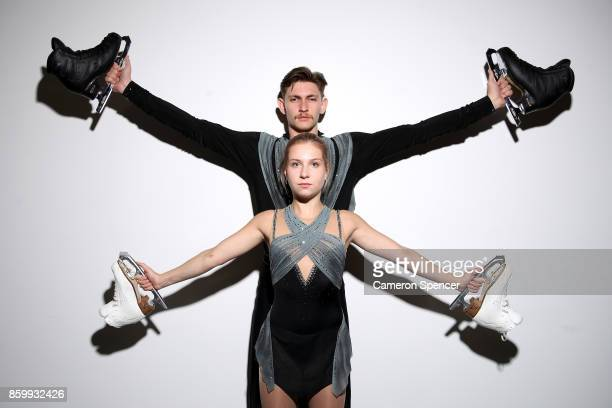 Australian figure skater Harley Windsor and skating partner Ekaterina Alexandrovskaya pose during a portrait session on August 16 2017 in Sydney...