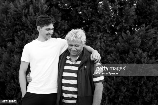 Australian figure skater Harley Windsor poses with his father Peter Dahlstrom at his home in Rooty Hill on August 16 2017 in Sydney Australia Windsor...
