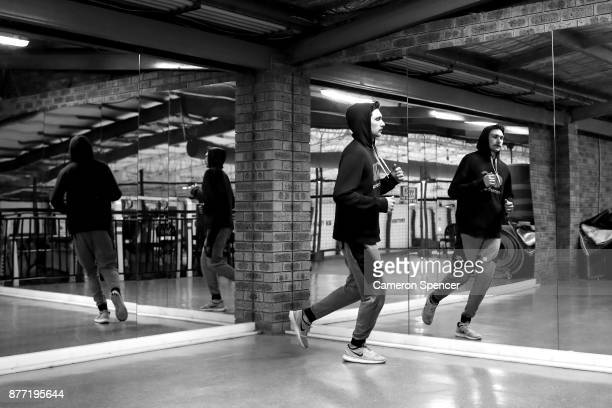 Australian figure skater Harley Windsor warms up during a training session at Canterbury Olympic Ice Rink on August 16 2017 in Sydney Australia...