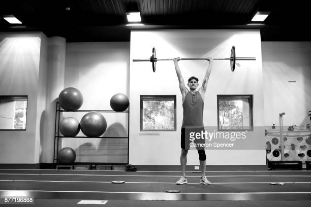 Australian figure skater Harley Windsor works through his resistance program during a training session at the New South Wales Institute of Sport on...