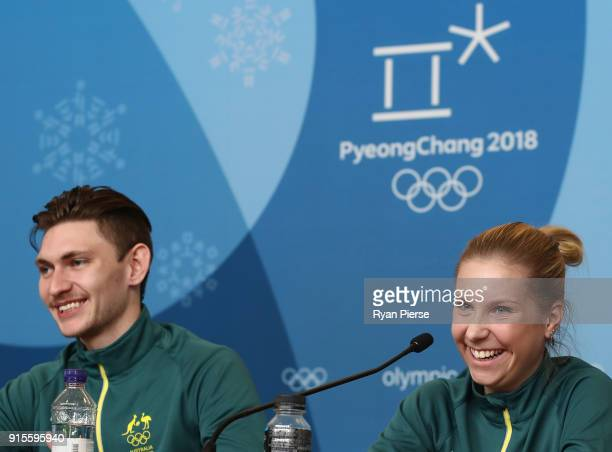 Australian Figure Skaters Harley Windsor and Ekaterina Alexandrovskaya speak during a press conference ahead of the PyeongChang 2018 Winter Olympic...