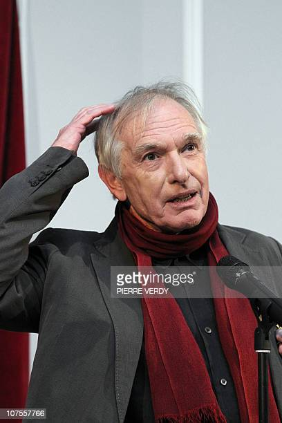 Australian film director Peter Weir gestures during a speech before being awarded as officer des Arts et Lettres by French Culture Minister Frederic...