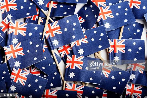 australian flag cocktail flags - australia day stock pictures, royalty-free photos & images